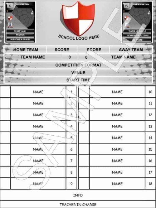 All Sports Team Sheet