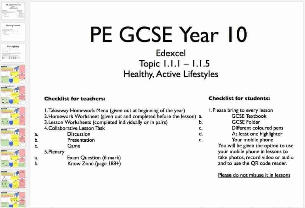 Year 10 & 11 Edexcel GCSE PE Learning Mats @MBowePE