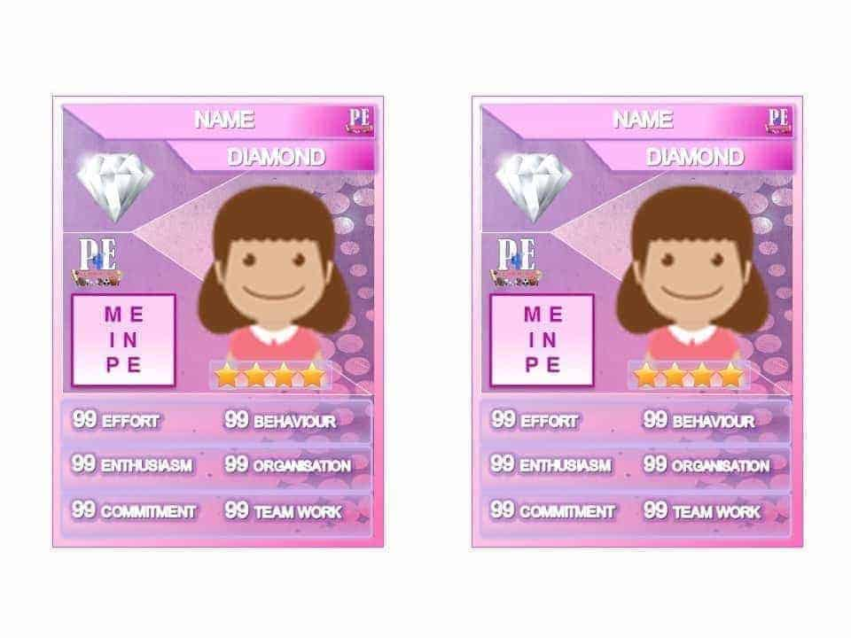 Merit PE Reward Cards - 'Me in PE' Female Achievement Card Template