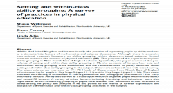 Setting and within-class ability grouping: A survey of practices in physical education
