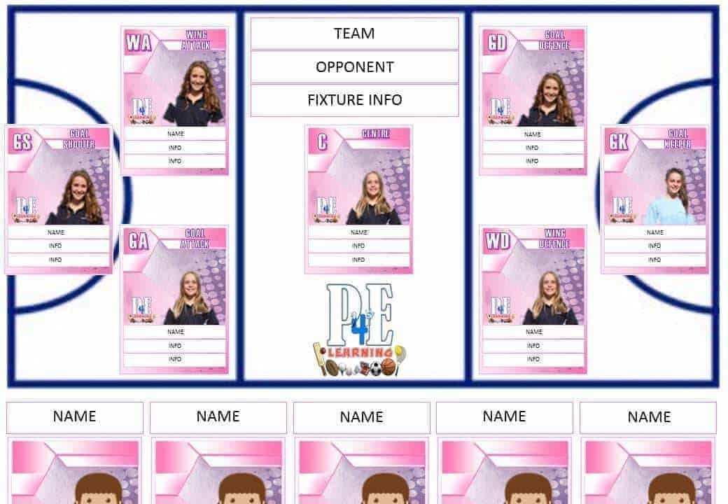 Netball Team Sheet - Editable Templates