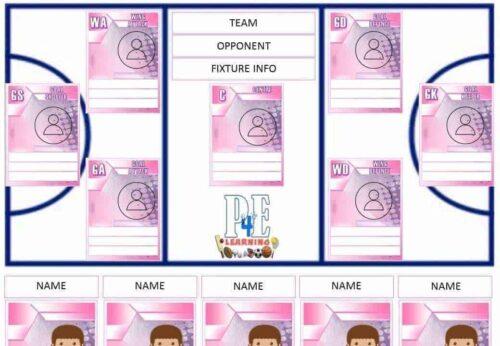 Netball Team Sheet - Editable Templates