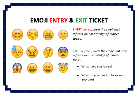 Emoji Entry And Exit Ticket Template From @MrUnderwoodPE [DOWNLOAD]  Entry Ticket Template