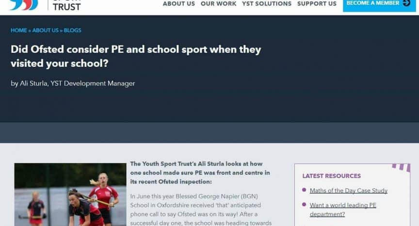 Did Ofsted consider PE and school sport when they visited your school? Youth Sport Trust