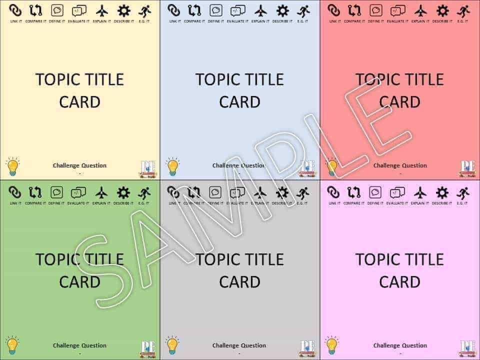 Activity Card Templates - Differentiate Link Challenge Extend Mix & Match
