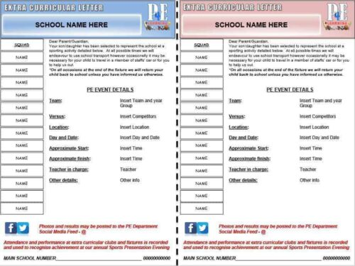 Extra Curricular & Fixture Letters Pack