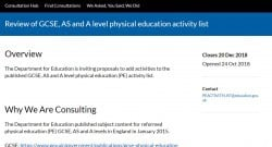 Review of GCSE, AS and A level physical education activity list