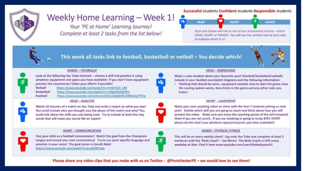Home Learning Tasks and Ideas in Physical Education