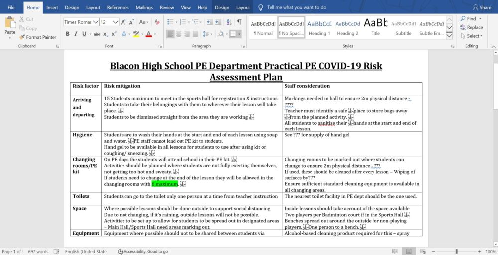 Blacon High School PE Department COVID Risk Assessment @ Lee Cairns