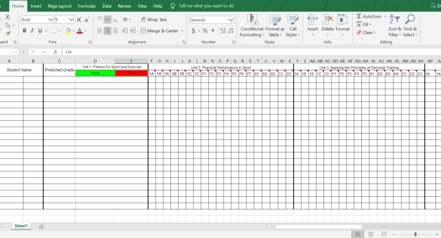 @MrGrantPE BTEC Level 1-2 Data Spreadsheet