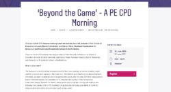 'Beyond the Game' - A PE CPD Morning @KateBancroft2 | This is a virtual CPD webinar training event led by Kate Bancroft, lecturer in the School of Education at Leeds Beckett University, and Darren Ward, Assistant Headteacher for Behaviour and Reward and Brooklands School in Bedfordshire