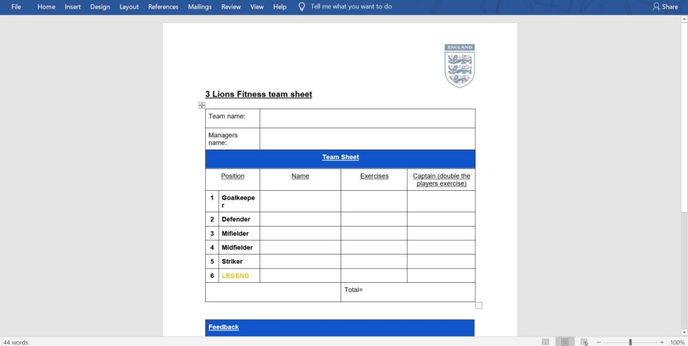 3 Lions Fitness- Team Sheet, Squad Selector @SidewellPE