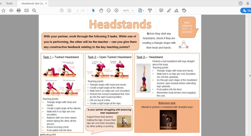 Headstand and Handstand Task Cards from Lucy Roach
