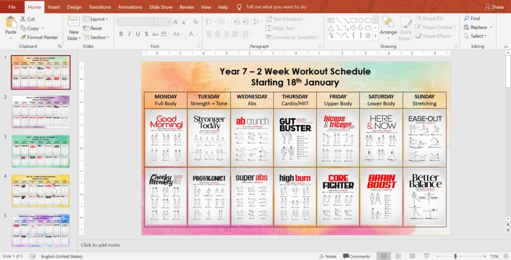 Work Out Schedule from Georgie Harrison <a class='bp-suggestions-mention' href='https://www.pe4learning.com/members/missharrisonpe1/' rel='nofollow'>@MissHarrisonPE1</a>